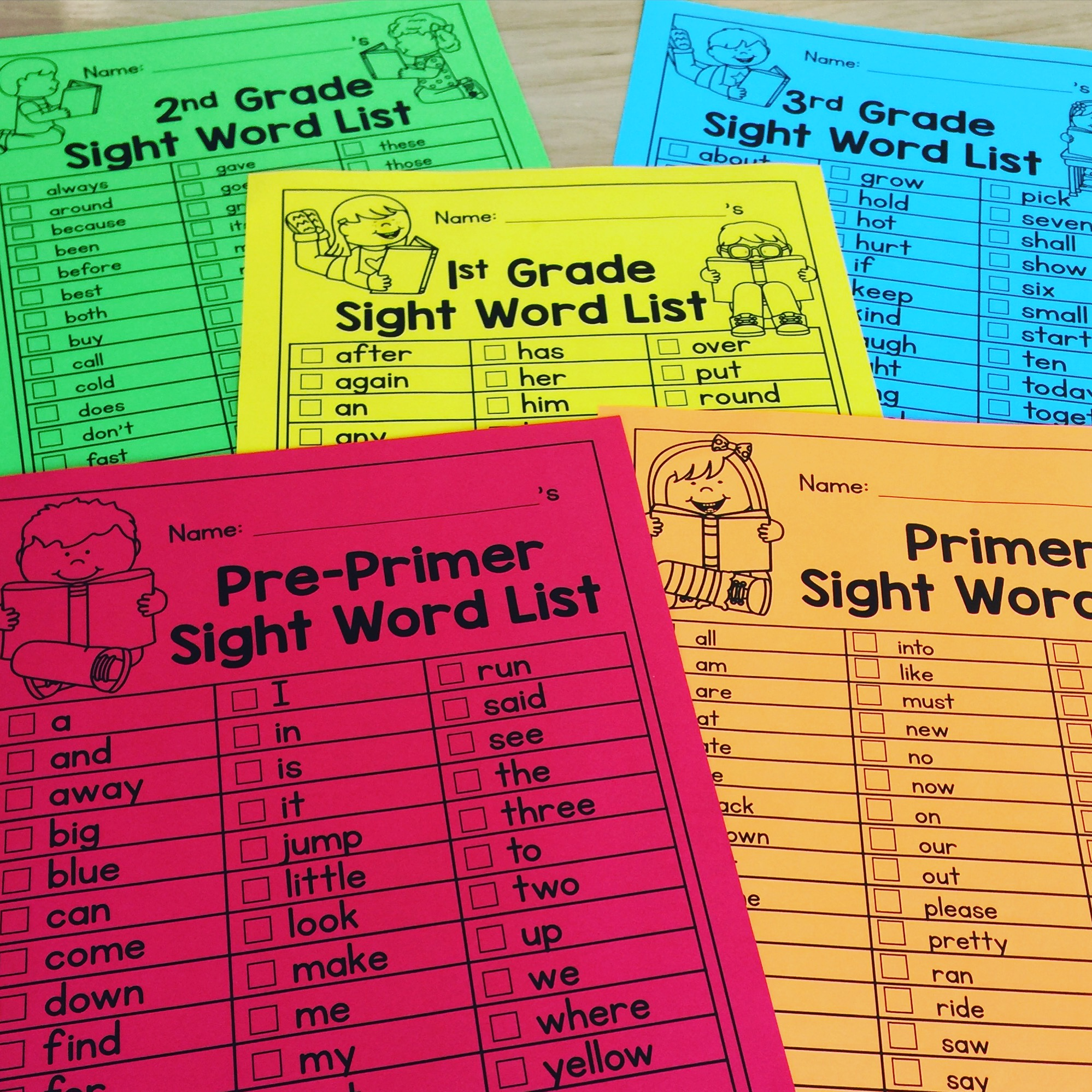 free sight word lists