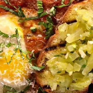 Eggs In Hell with Green Tomato Bruschetta.