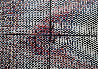 """Photo: """"Land Colors"""" Here is a detail view of the first tiling. I wrote a program that forms a hexagonal pattern of colored dots, with every triplet of dots (hexel) having colors selected from the 44 available glaze colors, and collectively, matching the color of the nearest pixel in the original image."""