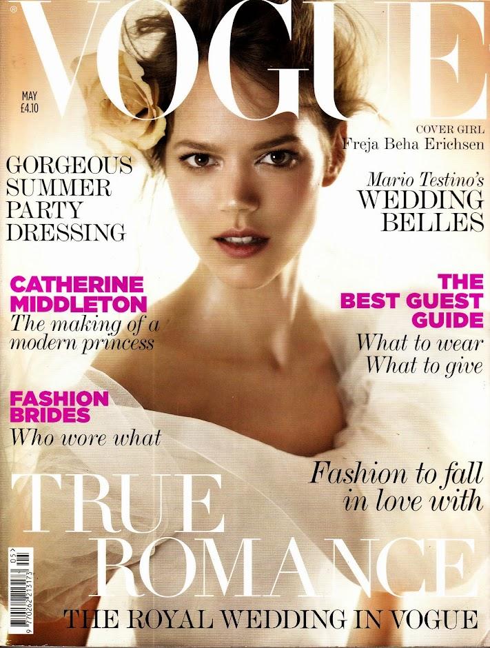 Details about VOGUE UK May 2011 FREJA BEHA ERICHSEN Agyness Deyn ROYAL  WEDDING Hannah Holman