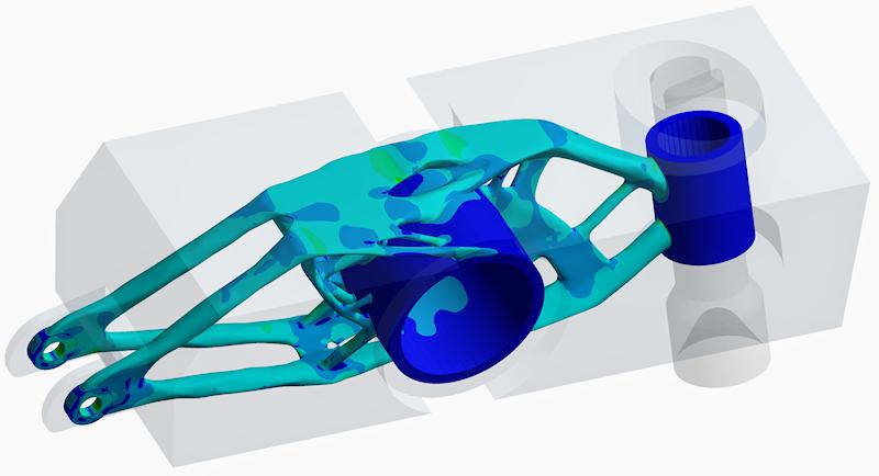 Оптимизированная с помощью ANSYS Mechanical форма детали (создано в CADFEM для ANSYS)