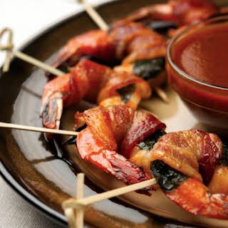 Bacon Basil-Wrapped Shrimp.