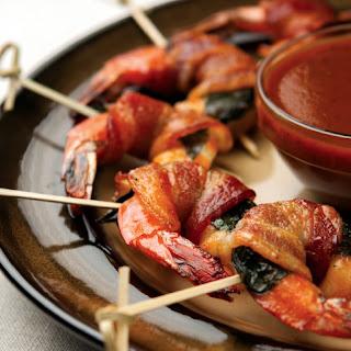 Bacon Basil-Wrapped Shrimp.