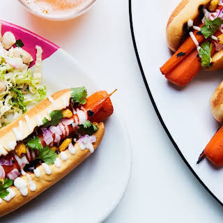 "Grilled Carrot ""Hot Dogs"" with Tangy Slaw recipe 