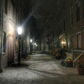 North End Boston Ma by Paul Gibson - City,  Street & Park  Neighborhoods ( boston, lens flare, light, cobblestone, street photography )