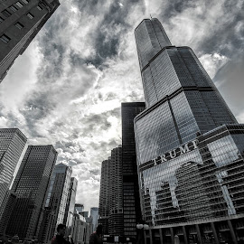 Chitown by Elisa Reyes - Buildings & Architecture Architectural Detail ( #trump #bnw #bnw_life #architecture )