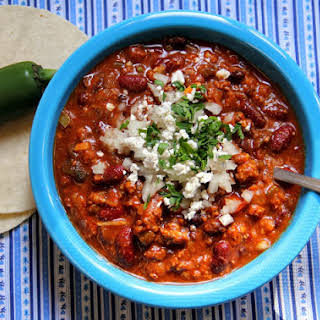 Slow Cooker Roasted Poblano Pepper Chili.