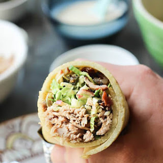 Pulled Pork Burritos with Brussels Sprout Slaw, Candied Jalapeño and White BBQ Sauce