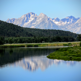 Grand Tetons with Reflection by Karen Coston - Landscapes Mountains & Hills ( moutain, nature, wyoming, landscape, grand tetons,  )