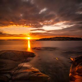by Patrick Pedersen - Landscapes Waterscapes ( raaholmen, water, fredrikstad, golden skies, sunsets, patrick pedersen, vann, patrick p, long exposure, aqua, skies, norway )