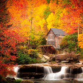 Glade Grist Mill by Lawayne Kimbro - Landscapes Mountains & Hills ( #waterfall, #fallcolors, #stream, #oldmill, #autumn, #mountains,  )