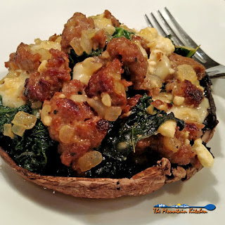 Sausage, Kale & Cheese Stuffed Portobellos