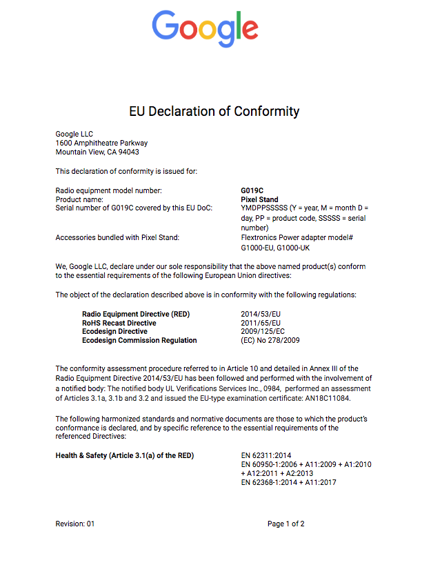 Regulatory > Declaration of Conformity 2018 > Page 1 (English)