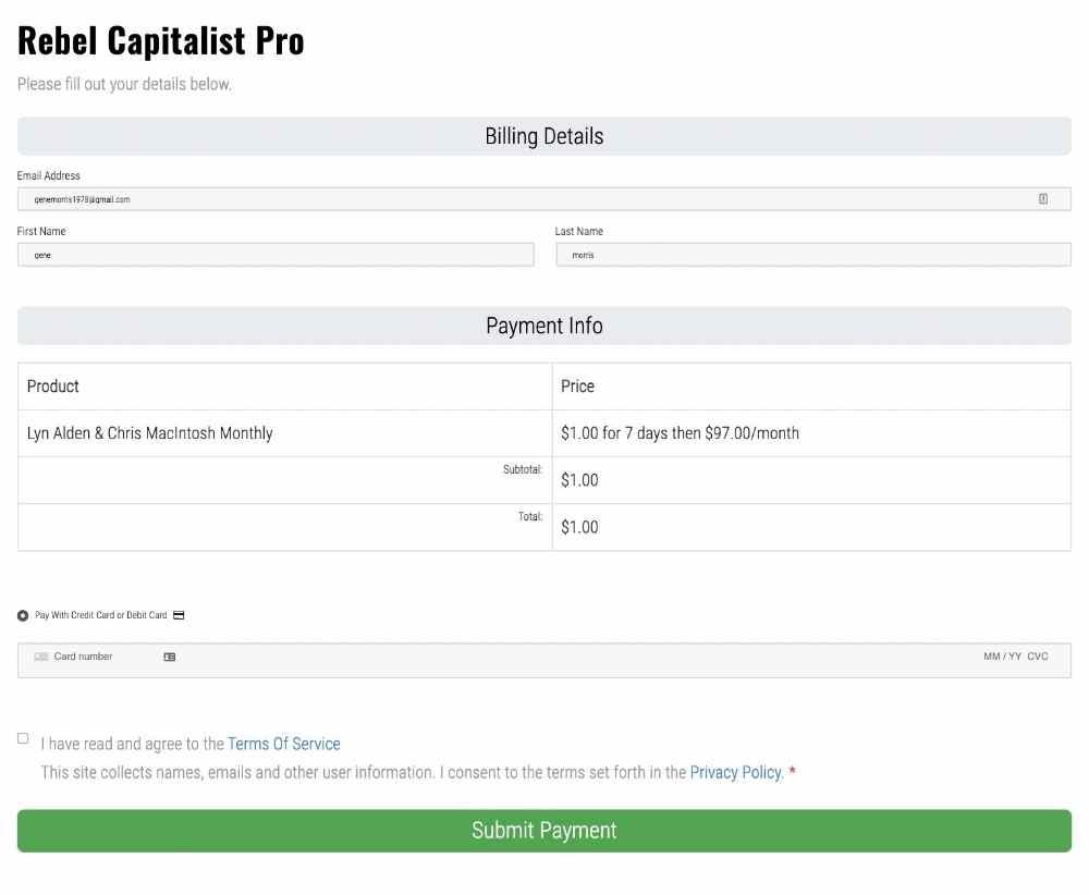 Rebel Capitalist pro registration page