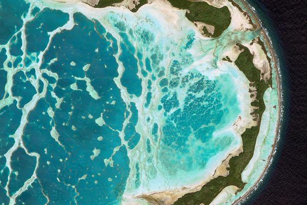 Pacific Ocean island via Google Earth