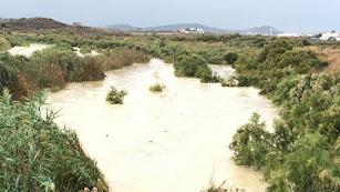 Estado de la zona próxima a la desembocadura del río Antas la pasada semana con las lluvias.