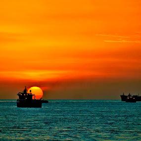 SHIP & SUN by Hernan Sto Tomas - Landscapes Sunsets & Sunrises