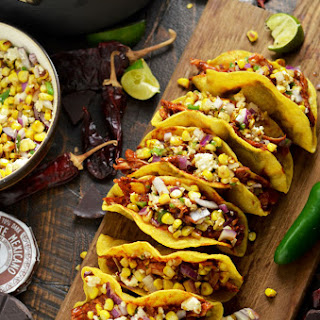 Crunchy Mexican BBQ Sauced Chicken Tacos with Charred Corn Relish.