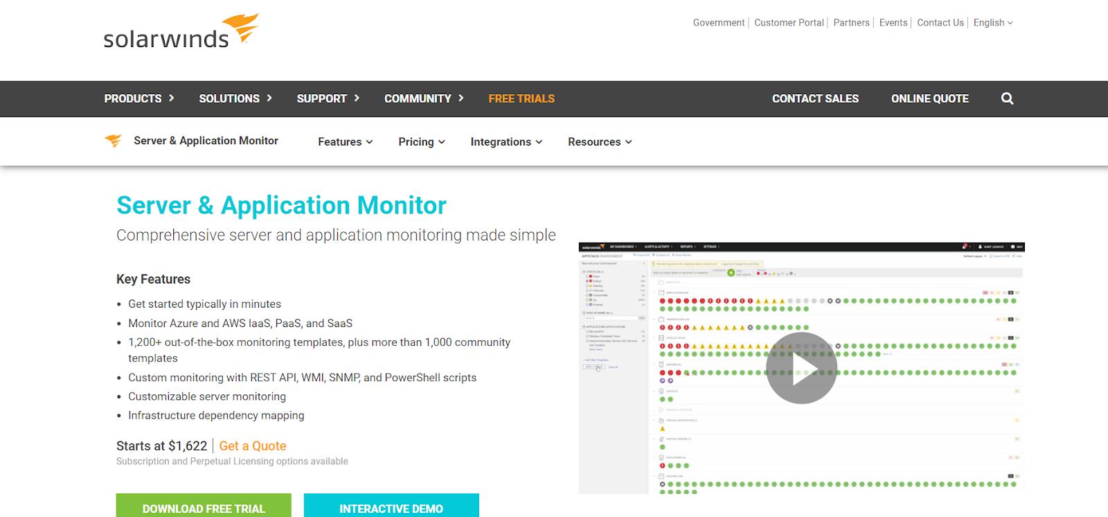 Solarwinds Server monitoring software