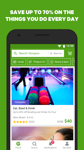 Screenshot 0 for Groupon's Android app'