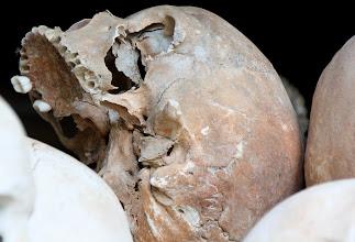Photo: Year 2 Day 35 -  ASkull in the Memorial Stupa in Choeung Ek (Killing Field)