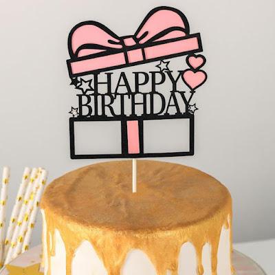 Топпер на торт «Счастливого дня рождения. Коробка», 18×12,5 см, цвет розовый