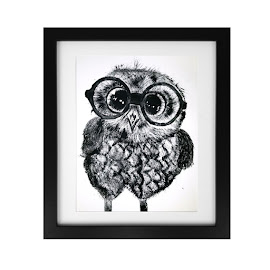 Owl In Glasses Print by Jessica Chapman - Painting All Painting ( bird, owl in glasses, glasses, printmaking, owl, monotype, wildlife, cute owl, print )