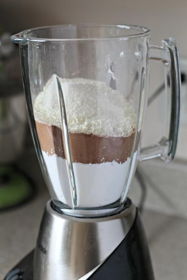 Run mix, minus the chocolate chips, through a blender to make it a finer...