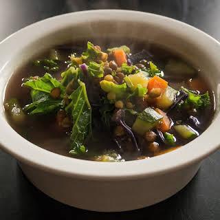 Rainbow Winter Vegetable Soup With Quinoa.