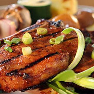 Teriyaki Orange Pork Chops, Baby Potatoes and Skewered Veggies