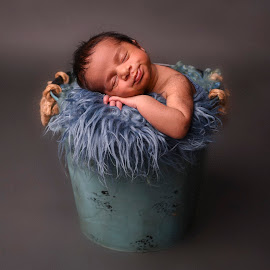 Blue Bucket Baby by Nicole Ferris - Babies & Children Babies ( bucket, studio, baby boy, blue, newborn )