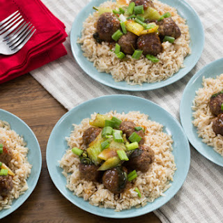 Orange-Glazed Meatballs with Baby Bok Choy & Brown Rice.