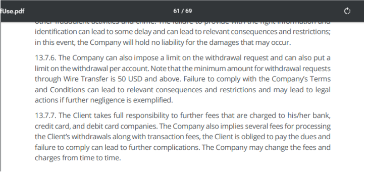 Unfair withdrawal conditions of LBLV