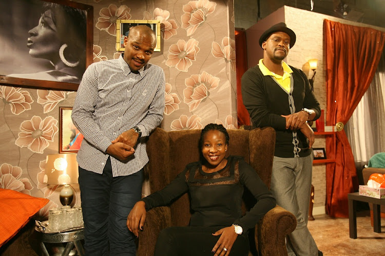 Black Brain Pictures communications and production company co-owners (from left) TT Mbha, Tumi Masemola and Mandla Ngcongwane at the set of SABC1's 'City Ses'la comedy series.