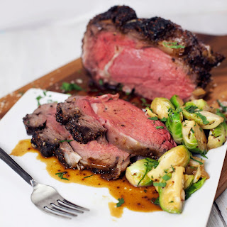 Roasted Prime Rib with Brussel Sprouts.