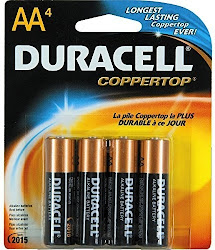 Duracell Alkaline Battery - Size AA, 1.5V, 4 Pack