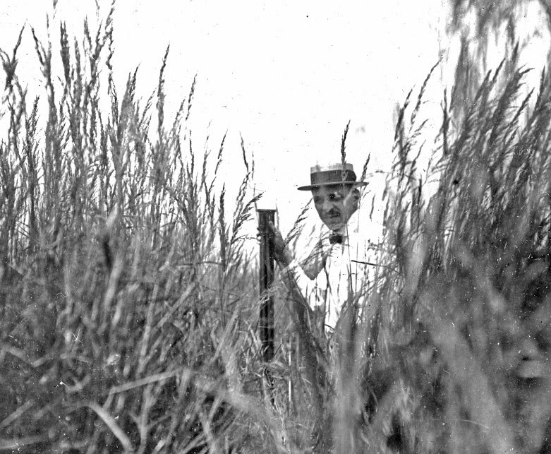 Frank C. Baker in the field around Skokie, 1908
