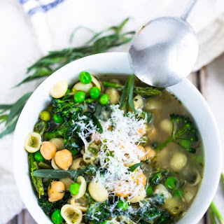 Spring Vegetable and Chickpea Minestrone-