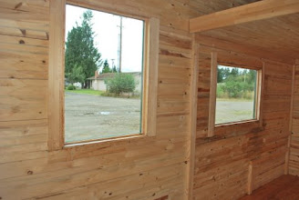 Photo: The whole Tiny House is made of torsion box Sing honeycomb panels. The window can be cut anywhere in the panel and blocked with honeycomb material.