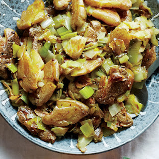 Smashed Twice-Cooked Potatoes with Leeks and Green Garlic
