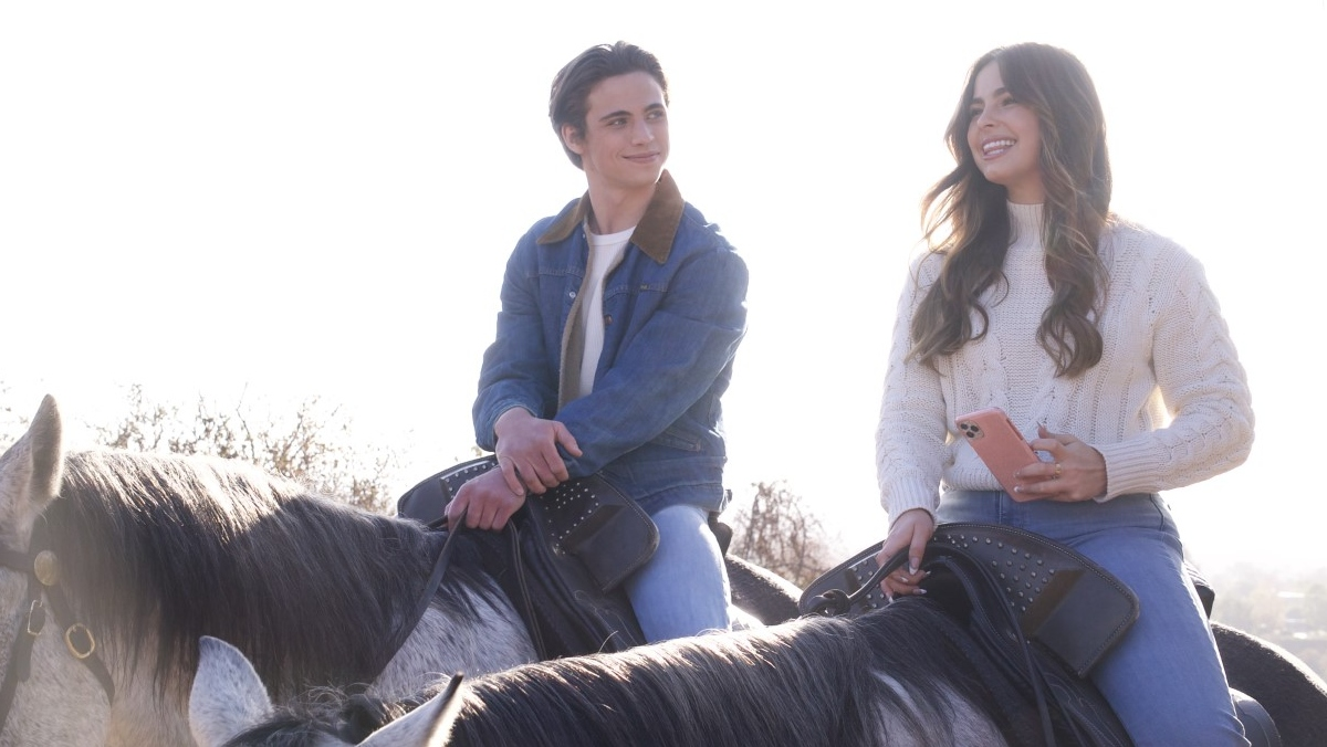 a girl and a guy ride horses in the daytime and smile at each other in he's all that movie