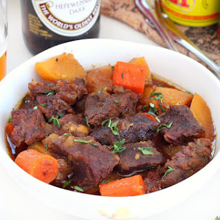 Beer Braised Beef With Carrots And Potatoes.