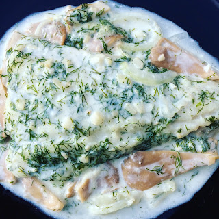 Cod in Dill and Garlic Cream Sauce with Onions and Mushrooms.