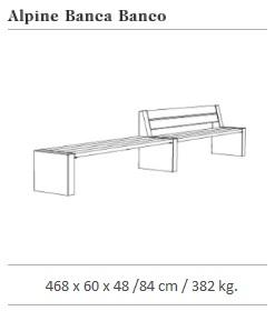 De Technische tekening van de Alpine ECO zitbanken uit de collectie van Escofet 1886