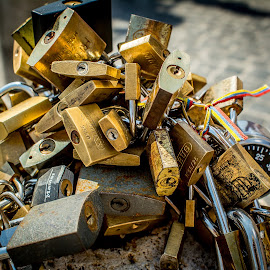 Locks  by T Sco - City,  Street & Park  City Parks ( concrete, bricks, keyhole, post, cobblestone, street, lock, padlock, key, combination, stone )