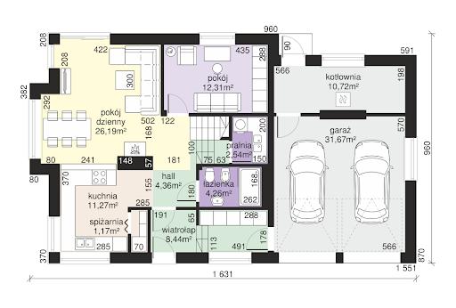 Dom przy Cyprysowej 15 K4 - Rzut parteru