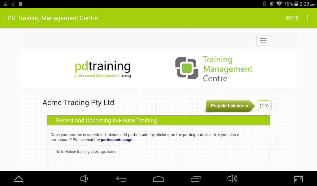 PD Training Management Center- screenshot
