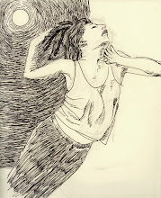 """Photo: The Dancer with the Full Moon in her Throat, sketch 2, 2011, 20cm x 28cm, 8"""" x 11"""", India, ink, graphite, Moleskine Folio Sketchbook A4."""