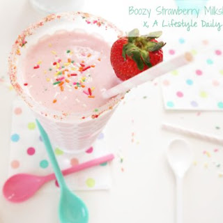 Boozy Strawberry Angel Food Cake Milkshake