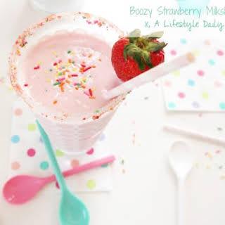 Boozy Strawberry Angel Food Cake Milkshake.